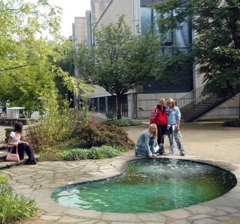 Besucher am Teich im Museumsgarten in Bonn