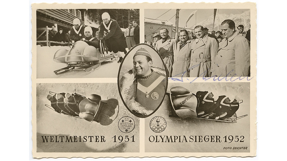 Postcard: Olympic victory of the German bobsleigh team, 1952