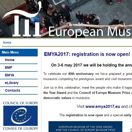 Screenshot of the European Museum Council website