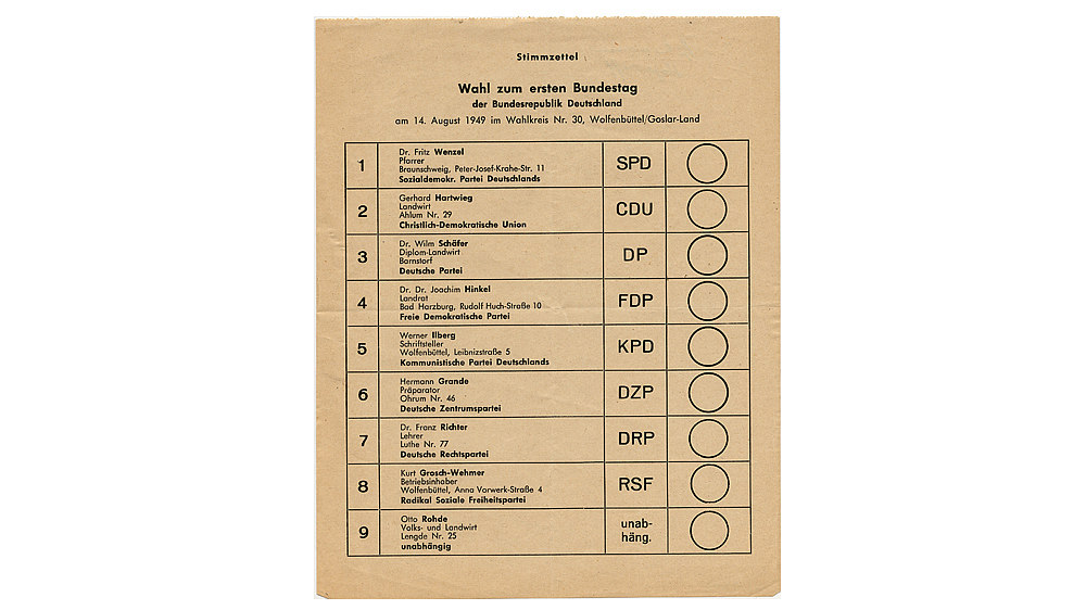 Ballot in the first election of the German Bundestag, 1949