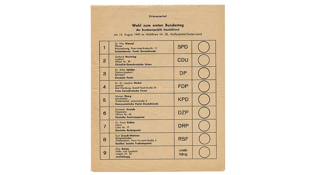 Stimmzettel zur Wahl zum ersten deutschen Bundestag am 14. August 1949.