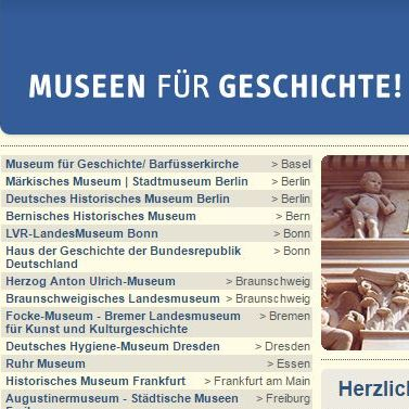 Screenshot, Museums for History, German webpage