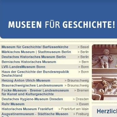 Screenshot, Museums for History, German webpage