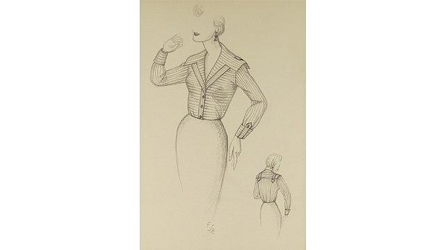 Skizze einer Frau mit Fokus auf deren Bluse