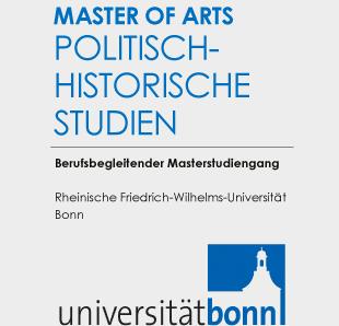 Der Schriftzug des Studiengangs und das Logo der Uni Bonn in Blau und Schwarz auf grauem Grund