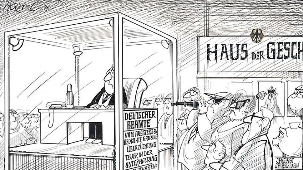 Ausstellungsplakat Haneluja. Walter Hanels Karikaturen 1965-2005