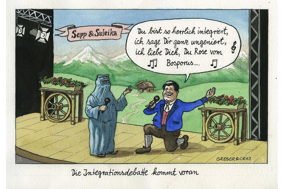 Caricature: 'Die Integrationsdebatte kommt voran', Achim Greser and Heribert Lenz, 2010
