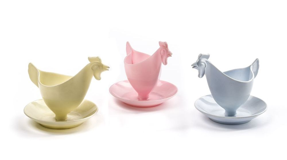 Eggcups in the shape of chicken, Josef Böhm