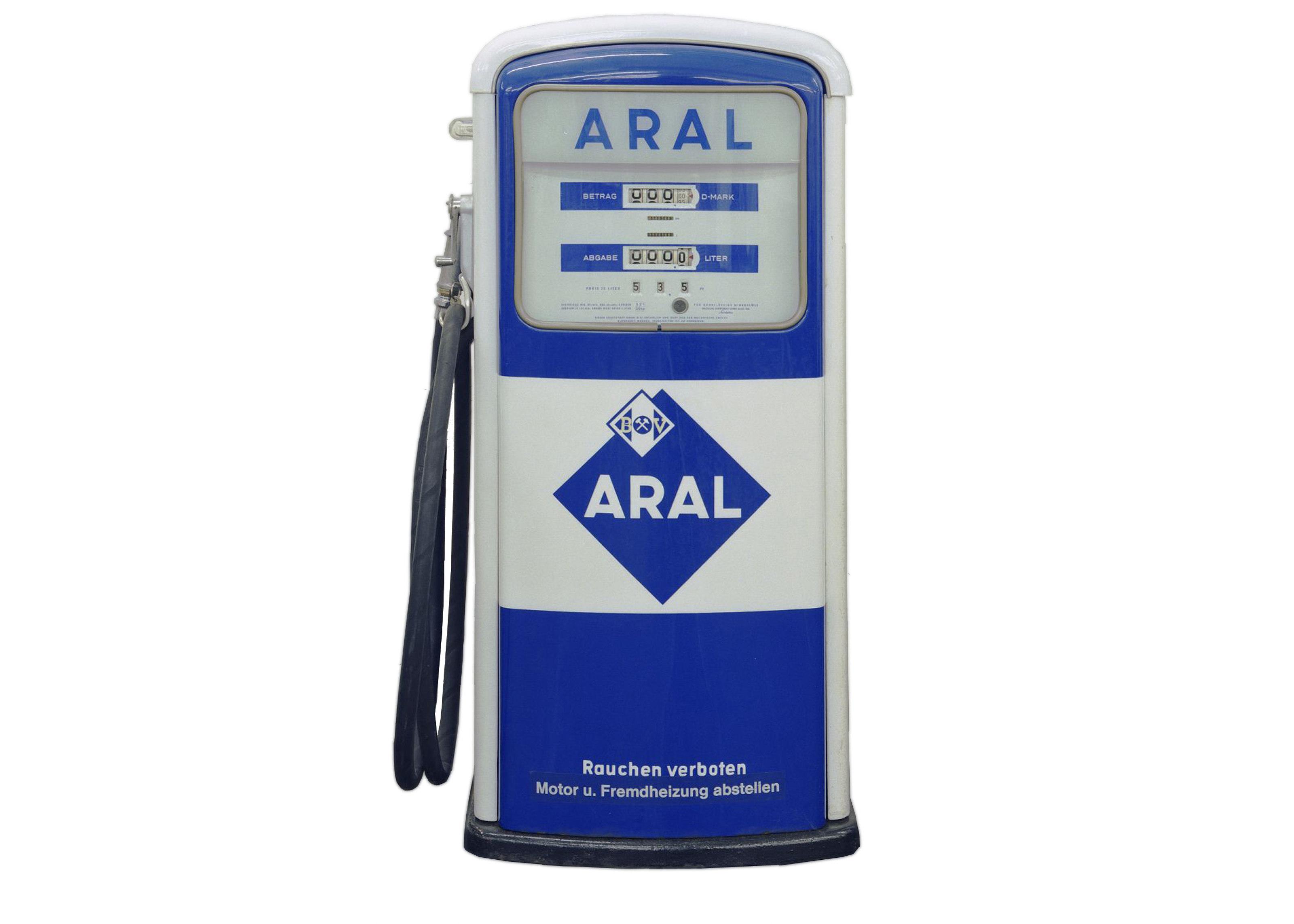 blau-weiße Tankstellen-Zapfsäule von Aral, 1958-1963