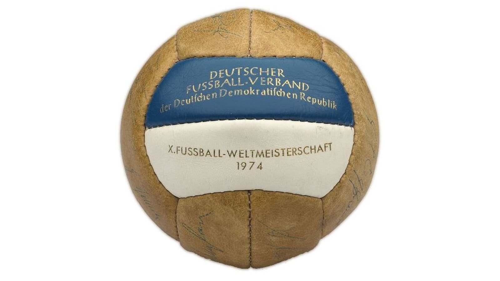Football with autographs of the GDR World Cup Team 1974