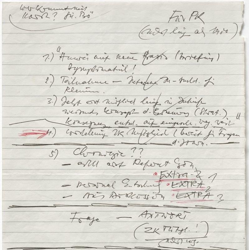 Notizen des SED-Funktionärs Günter Schabowski zur Ankündigung der neuen DDR-Reiseregelung bei der Pressekonferenz am 9.11.1989.