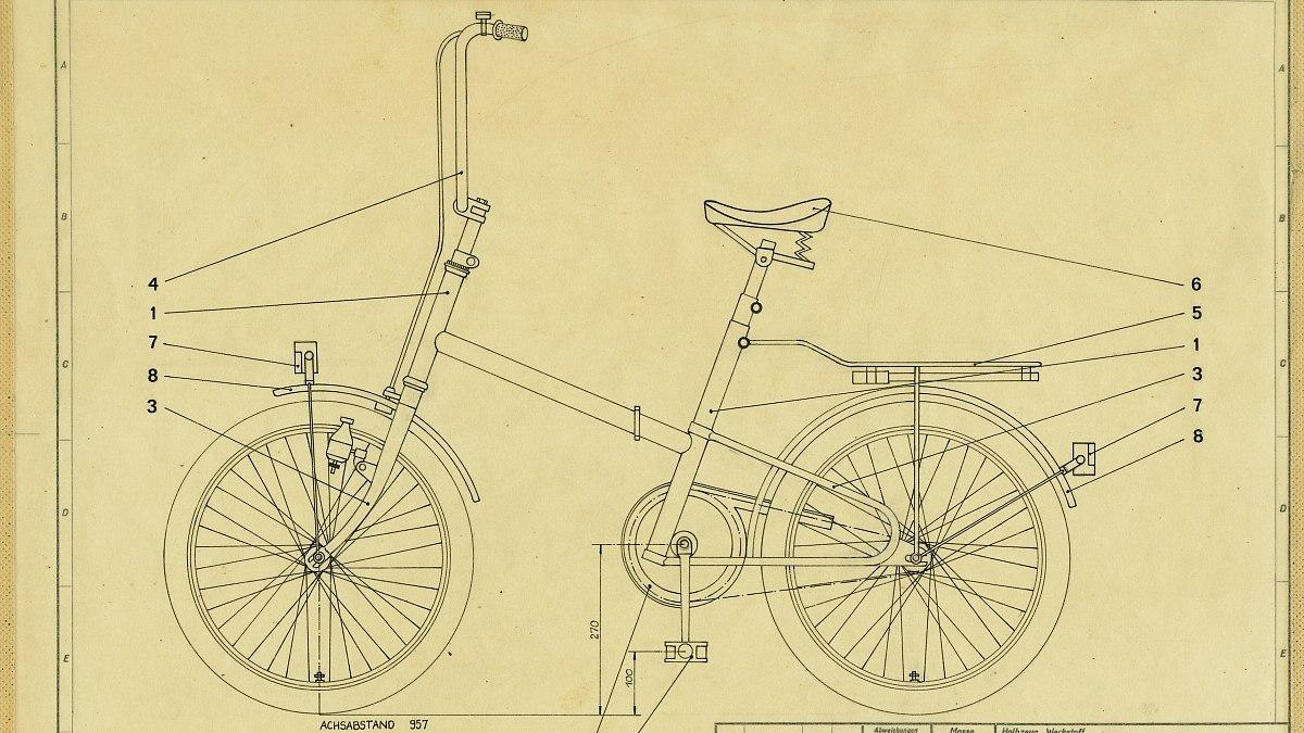 Entwurfszeichnung eines Klappfahrrades