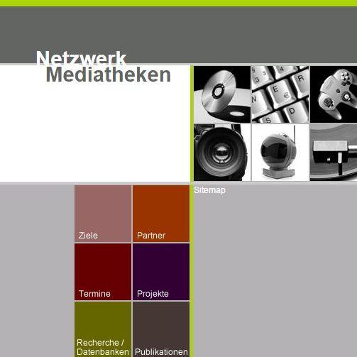 Ein Ausschnitt der Website des Netzwerks Mediatheken mit bunten Kacheln als Menüpunkte und Fotos von Medientechnik