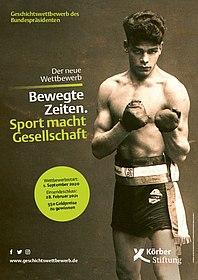 Plakat zum aktuellen Geschichtswettbewerb mit Fotografie eines Boxers
