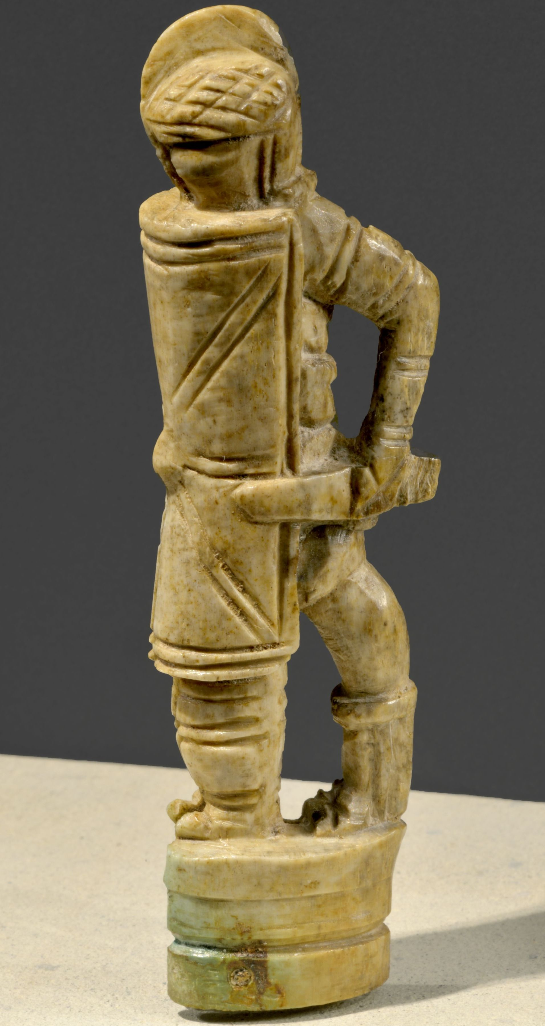 Ivory knife handle shaped as a gladiator