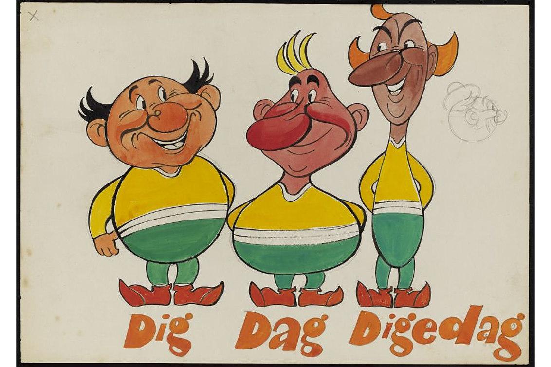 Bei dieser Zeichnung der Digedags von 1955 handelt es sich um einen frühen Entwurf der drei Kobolde.