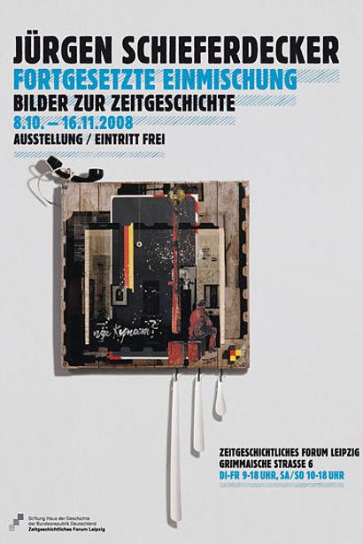 Ausstellungsplakat Jürgen Schieferdecker: Fortgesetzte Einmischung. Bilder zur Zeitgeschichte