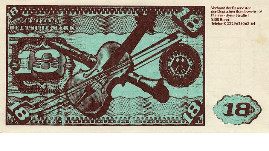 Nachbildung eines Zwanzigmarkscheins mit dem Betrag 18 Mark und der Aufschrift 'Achtzehn Deutsche Mark Verband der Reservisten der Deutschen Bundeswehr e.V.'