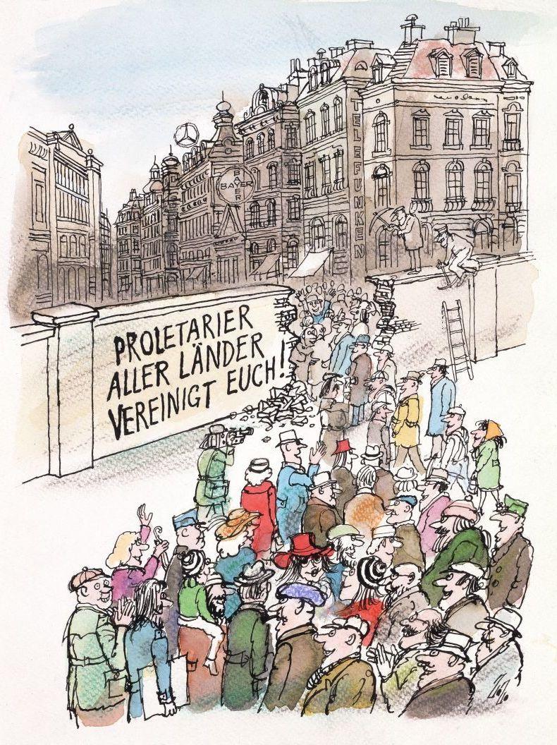 Karikatur 'Proletarier aller Länder vereinigt euch'