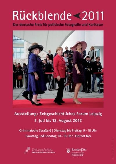 Ausstellungsplakat Rückblende 2011. Der deutsche Preis für politische Fotografie und Karikatur