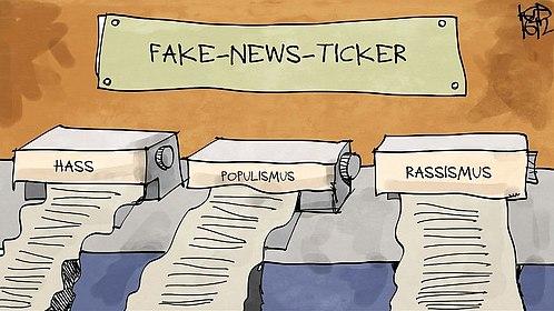 Fake-News-Ticker. Es werden Informationen mit den Überbegriffen Hass, Populismus und Rasissmus gedruckt.
