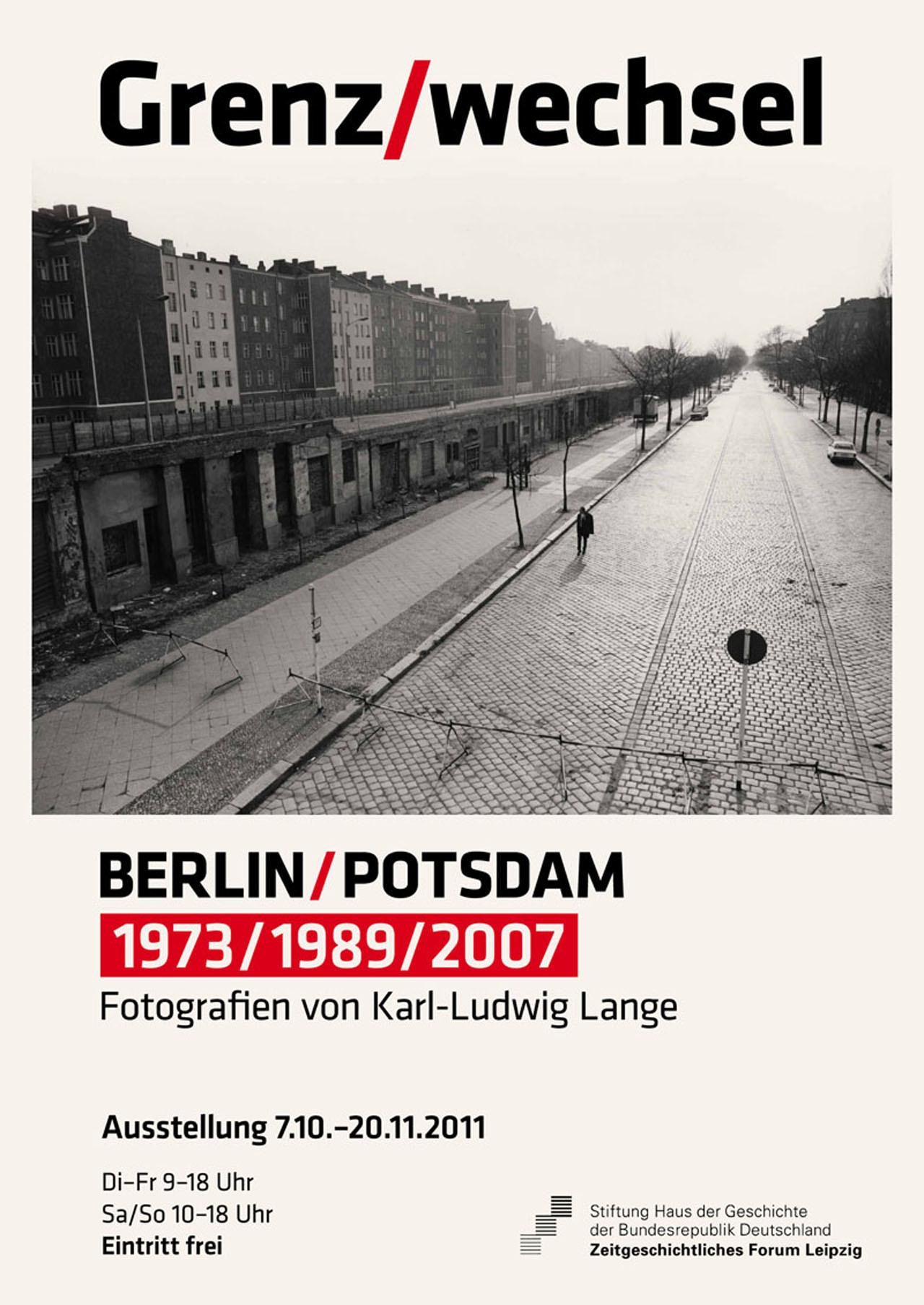 Ausstellungsplakat Grenz/wechsel. Berlin/Potsdam. 1973/1989/2007