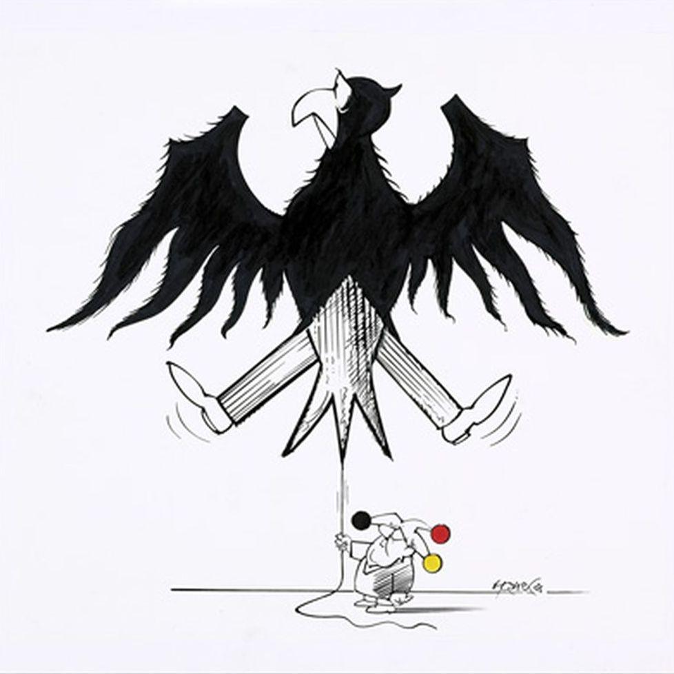 Karikatur des Bundesadlers von Walter Hanel