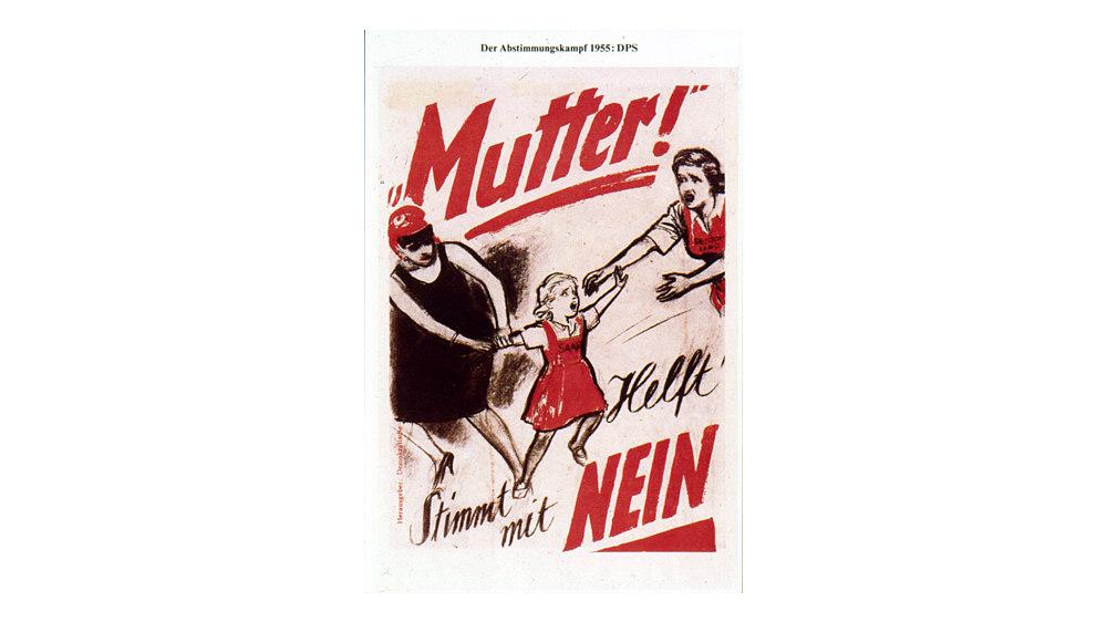 Flugblatt mit karikierter Abbildung einer französischen 'Marianne', die an einem Kind mit Schriftzug 'Saar' zieht, rechts Frau mit nach dem Kind ausgestreckten Armen und Aufschrift: 'Deutschland'; roter und schwarzer Text: 'Mutter! / Helft / Stimmt mit Nein'.
