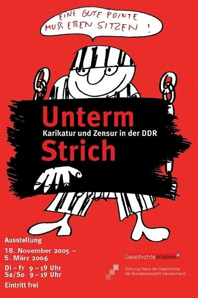 Ausstellungsplakat Unterm Strich - Karikatur und Zensur in der DDR