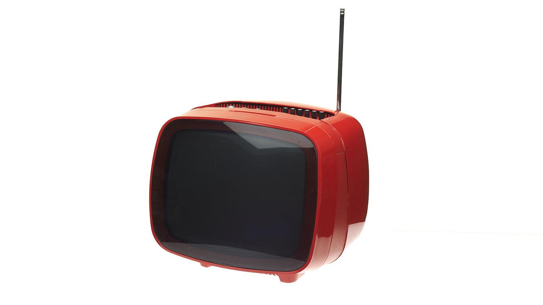 orangefarbener, kleiner runder Fernseher Siemens Alpha 31 aus den 1970er Jahren