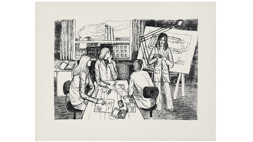 Print: 'Young Engineers', 1973