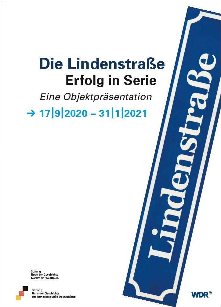 Plakat zur Lindenstraßen-Objektpräsentation mit dem blau-weißen Straßenschild auf weißem Hintergrund
