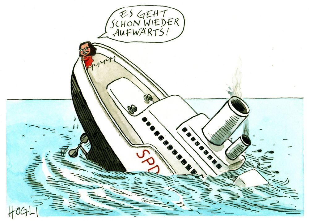 Karikatur mit einem untergehenden Schiff, an der Spitze steht Andrea Nahles.