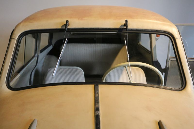 The windshield and the interior a Lloyd 300 car.