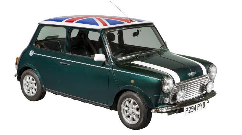 Mini Cooper with Union Jack on the roof