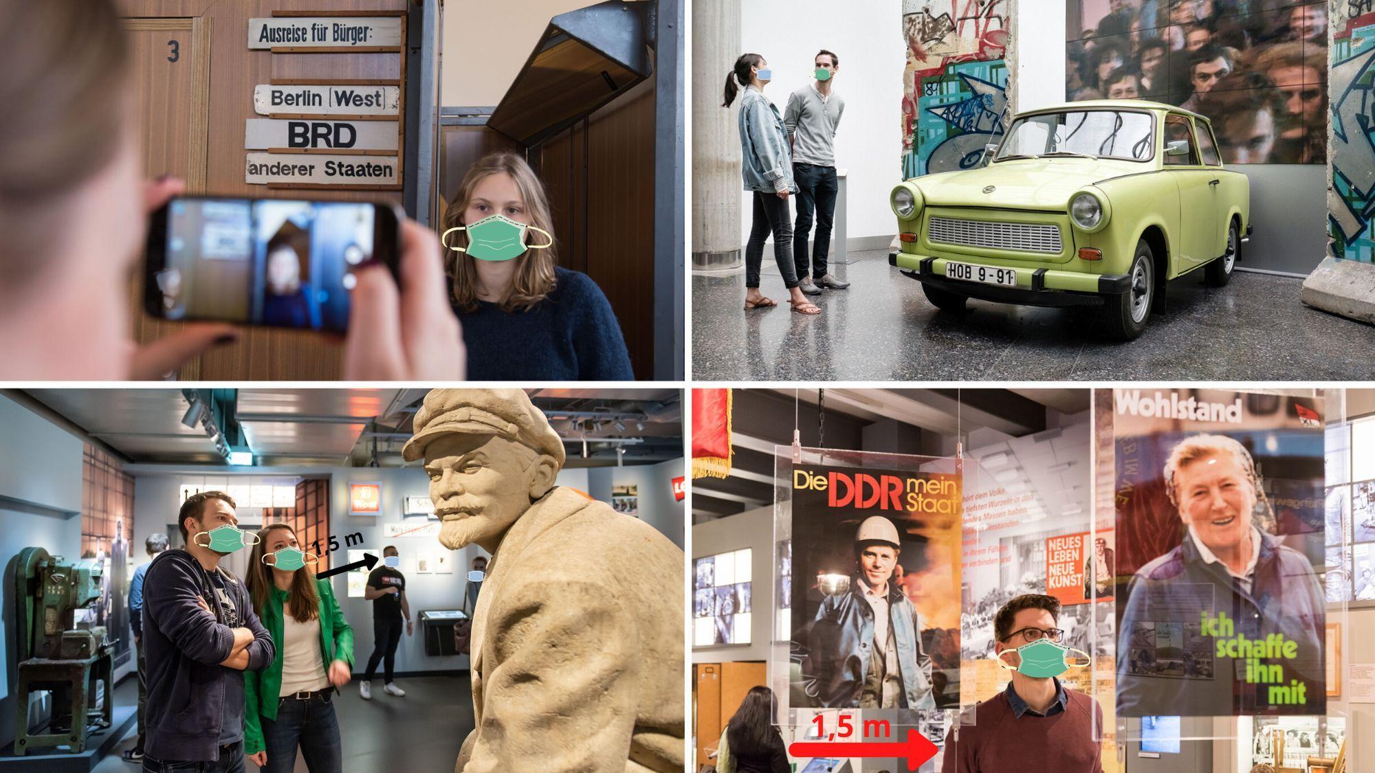 Foto-Collage mit Museumsbesuchern mit Masken