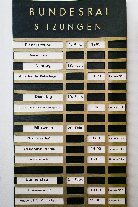 Meetings board at Bundesrat Bonn