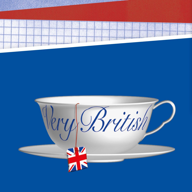 Blauer Hintergrund, weiße Teetasse mit dem Titel der Ausstellung.