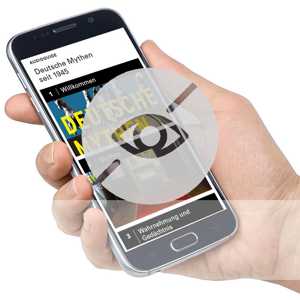 Smartphone mit Audioguide und Symbol für Sehbeeinträchtigung