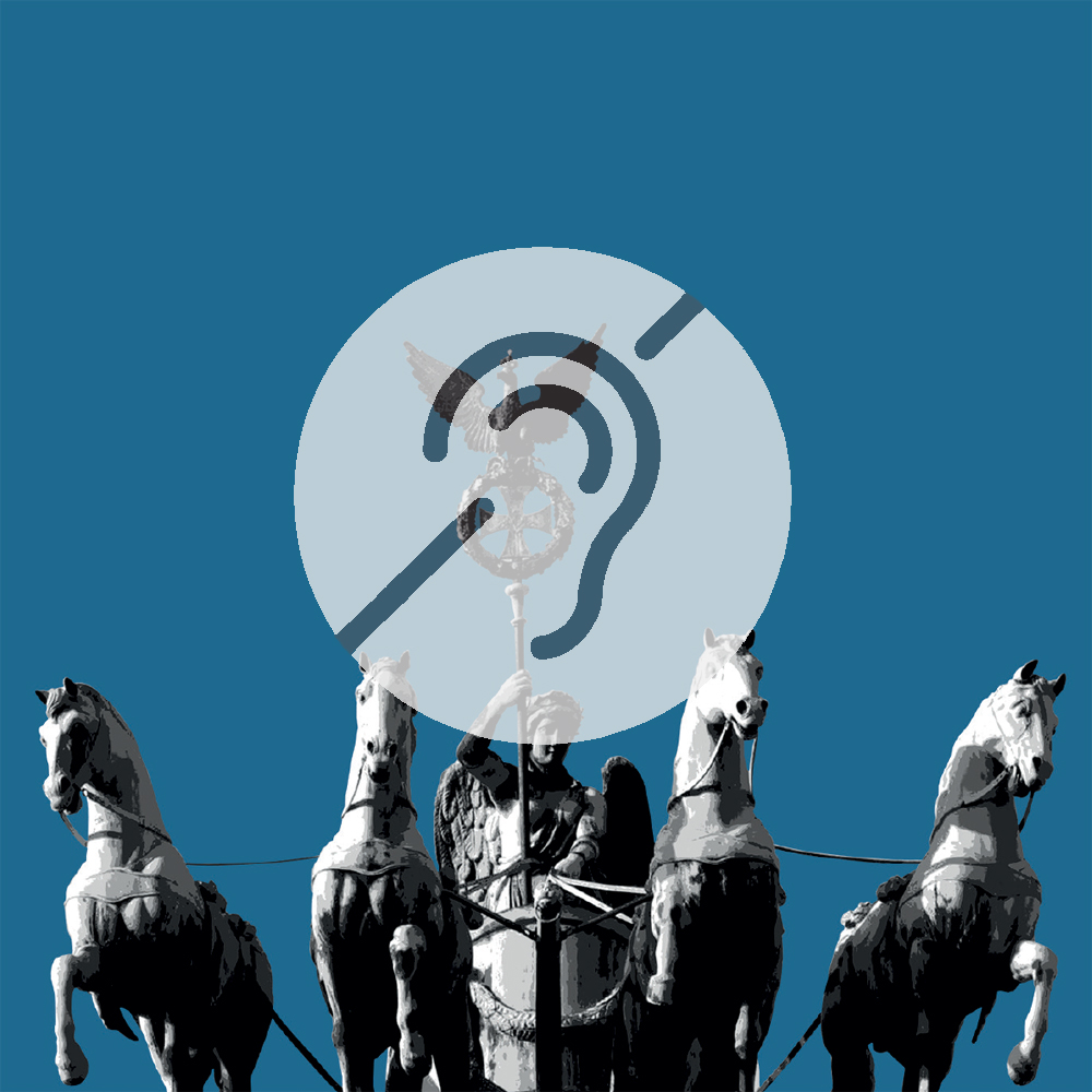Quadriga auf dem Brandenburger Tor mit Symbol für Hörbeeinträchtigung