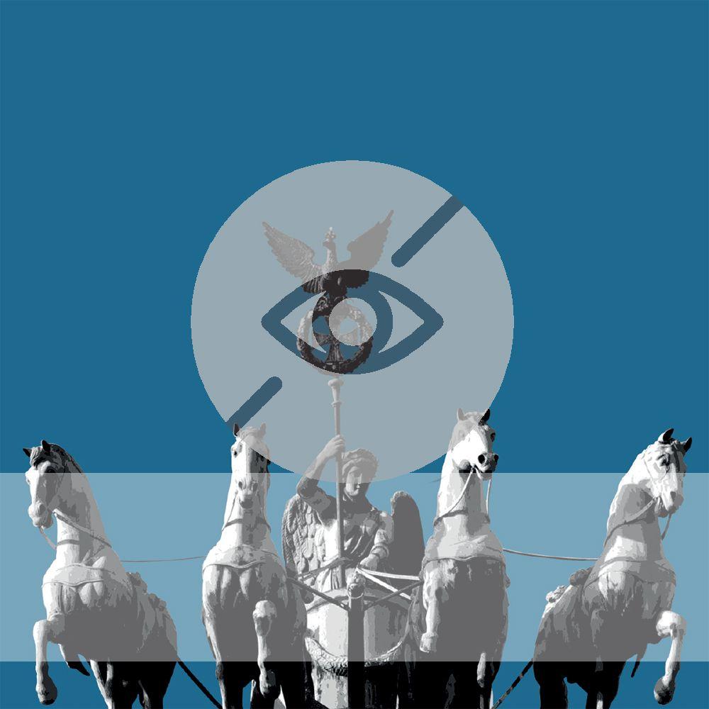 Quadriga auf dem Brandenburger Tor mit Symbol für Sehbeeinträchtigung