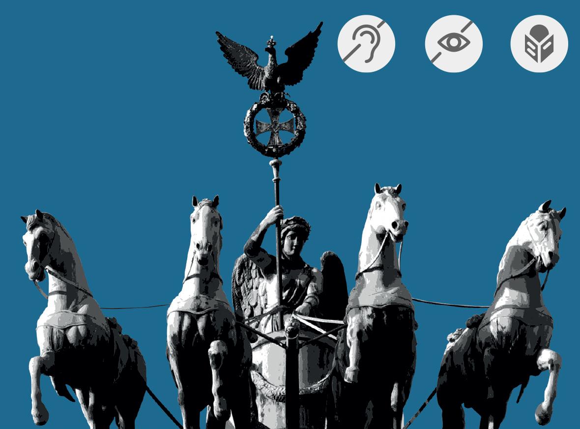 Quadriga auf dem Brandenburger Tor mit Symbolen für Barrierefreiheit