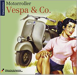 Buch mit der Zeichnung einer Vespa und einer jungen Frau auf dem Cover