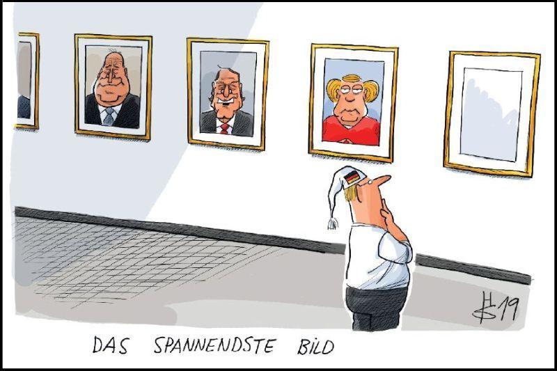 Karikatur mit dem deutschen Michel vor einer Porträtreihe der deutschen Kanzlern und einem leeren Rahmen am Ende.