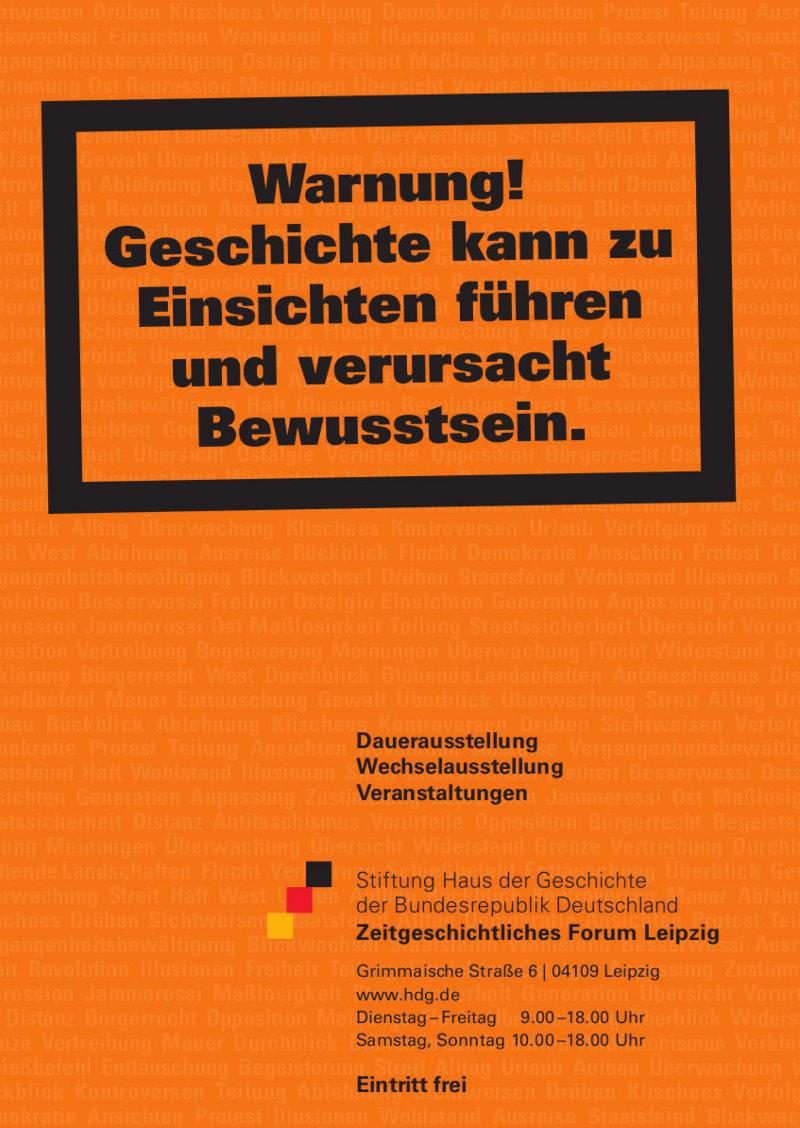 Plakat zur Dauerausstellung im Zeitgeschichtlichen Forum