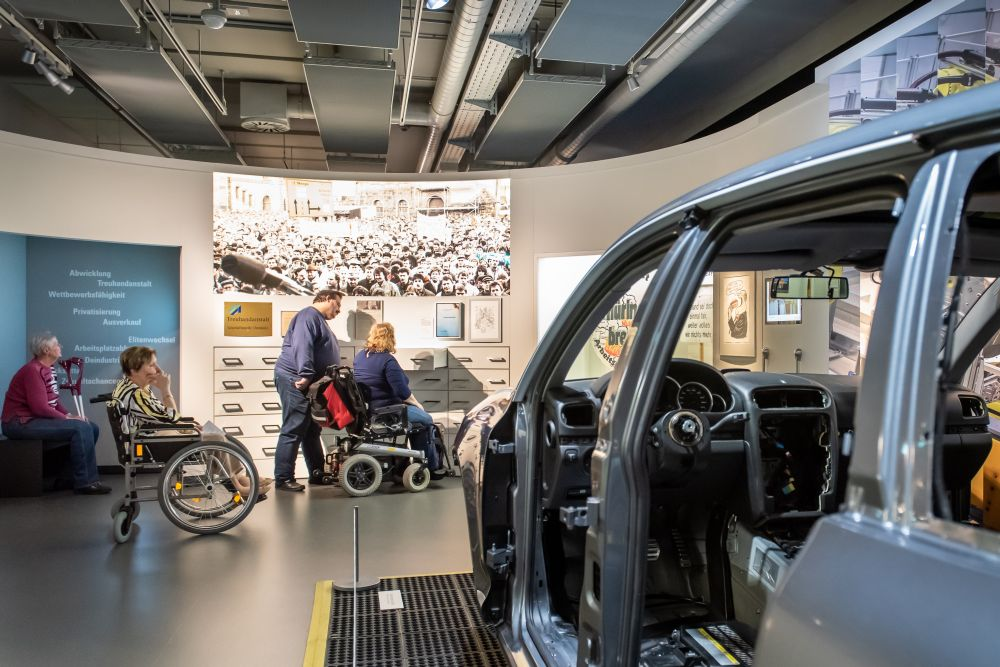 Wheelchair users in the exhibition