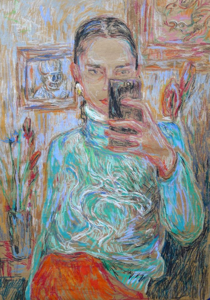 The Weimar artist Ulrike Theusner combines selfie and portrait painting