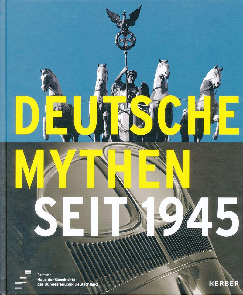 Das Buchcover ist in der Mitte geteilt, auf der oberen Hälfte ein Foto der Quadriga auf dem Brandenburger Tor, auf der unteren ein Foto das Heckfenster eines Käfers in Brezelform