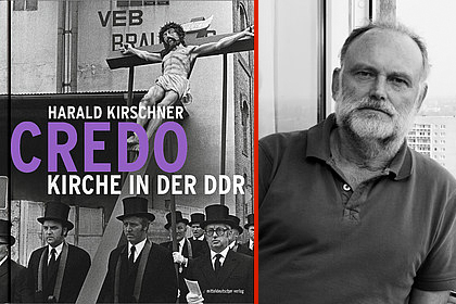 Buchcover Kirche in der DDR und Foto von Harald Kirschner