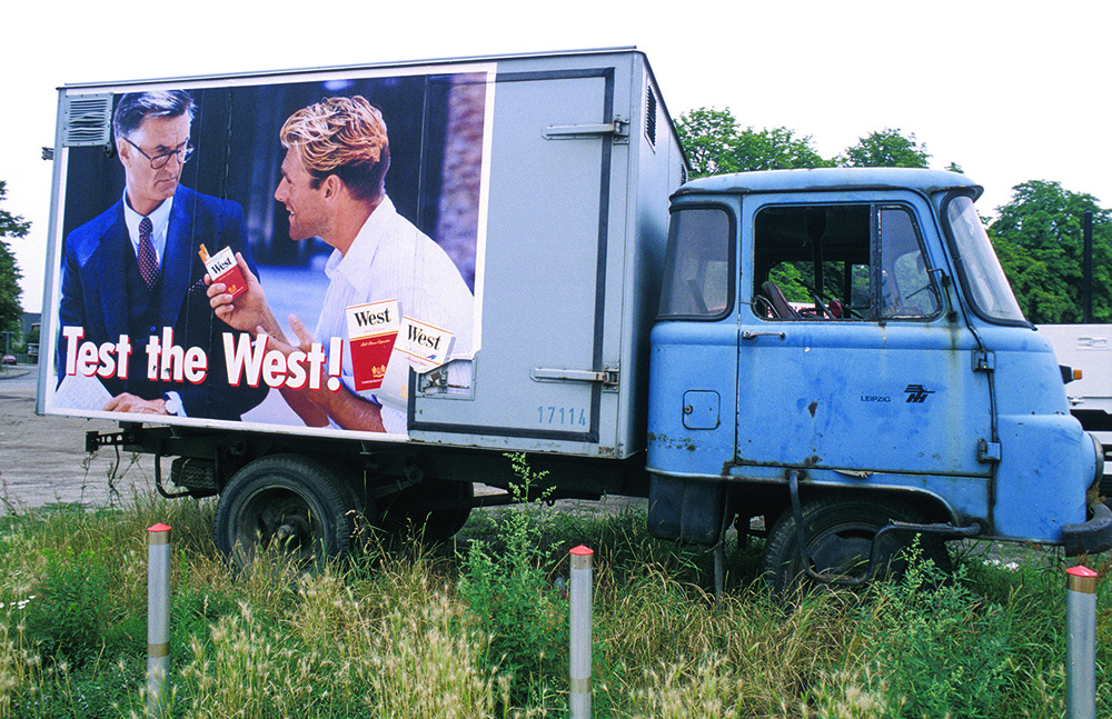 Truck with cigarette advertising